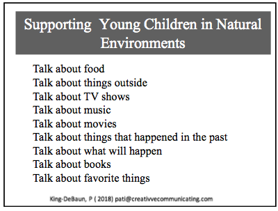 Supporting Young Children in Natural Environments. Slide from ISAAC 2018 presentation